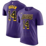 Camiseta Manga Corta Brandon Ingram Los Angeles Lakers Violeta Ciudad