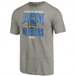 Camiseta Manga Corta Golden State Warriors 2019 Western Conference Champions Extra Pass Tri-Blend Gris