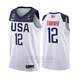 Camiseta USA Myles Turner #12 2019 FIBA Basketball USA Cup Blanco