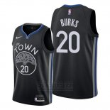 Camiseta Golden State Warriors Alec Burks #20 Ciudad 2019-20 Negro