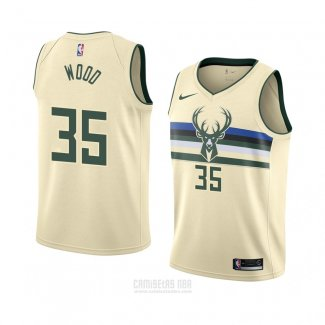 Camiseta Milwaukee Bucks Christian Wood #35 Ciudad 2018 Crema