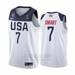 Camiseta USA Marcus Smart #7 2019 FIBA Basketball USA Cup Blanco