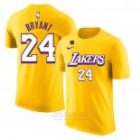 Camiseta Manga Corta Kobe Bayant 24 Los Angeles Lakers Amarillo Commemorativo2