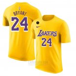Camiseta Manga Corta Kobe Bayant 24 Los Angeles Lakers Amarillo Commemorativo