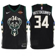 Camiseta Nino Milwaukee Bucks Giannis Antetokounmpo #34 Statement Harlry 2017-18 Negro