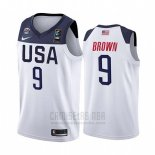Camiseta USA Jaylen Brown #9 2019 FIBA Basketball USA Cup Blanco
